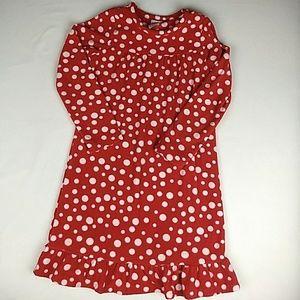 Lands' End Fleece Polka Dot Nightgown Size 8